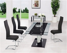 BASS XTRA LARGE EXTENDING GLASS TABLE AND CHAIRS<br />
