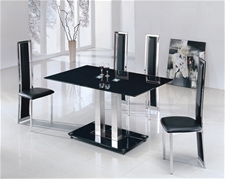 JET SMALL GLASS DINING TABLE AND 4 CHAIRS<br />