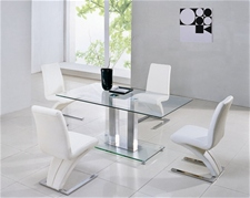 JET CHROME GLASS DINING TABLE 120CM AND CHAIRS<br />