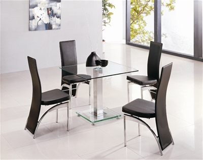JET SQUARE GLASS DINING TABLE