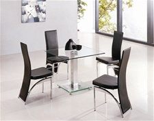 JET SQUARE GLASS DINING TABLE 80CM WITH 4 CHAIRS<br />