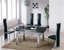 DELTA EXTENDING GLASS DINING TABLE 220CM AND 6 CHAIRS<br />