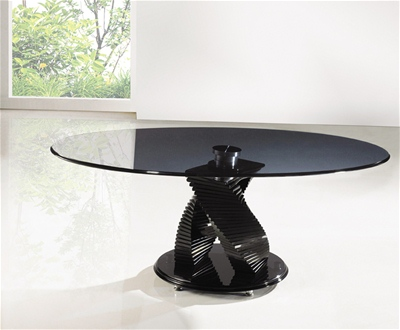 TWIRL SMOKED GLASS TABLE