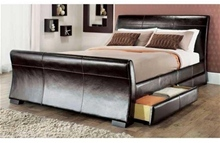 RIMINI 4 DRAWER LEATHER SLEIGH STORAGE BED