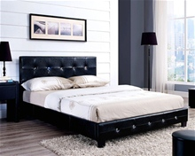 DIAMANTE FAUX LEATHER BED