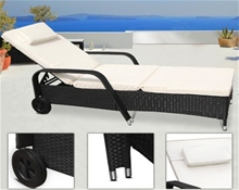 ADJUSTABLE RATTAN SUN LOUNGER WITH CUSHIONS