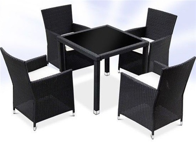 RATTAN DINING TABLE AND 4 CHAIRS SET - BLACK
