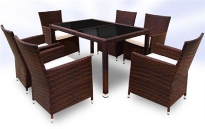 RATTAN DINING TABLE AND 6 CHAIRS SET - BROWN