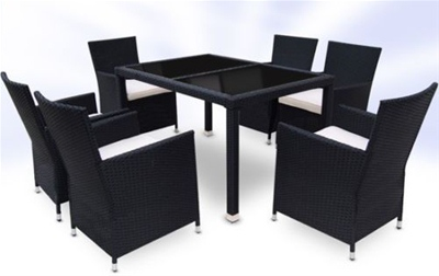 RATTAN DINING TABLE AND 6 CHAIRS SET - BLACK
