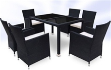 RATTAN DINING TABLE AND 6 CHAIRS SET - BLACK<br />