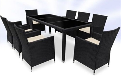 RATTAN DINING TABLE AND 8 CHAIRS SET - BLACK