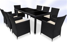 RATTAN DINING TABLE AND 8 CHAIRS SET - BLACK<br />