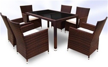 RATTAN DINING TABLE AND 6 CHAIRS SET - BROWN<br />