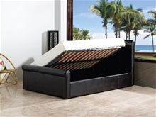Faux Leather Ottoman Bed with Side Lift Storage