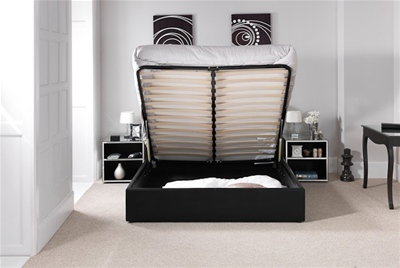 CHANEL OTTOMAN LEATHER GAS LIFT STORAGE BED