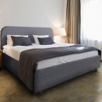 modern italian grey fabric bed frame