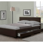 modern italian designer 4 drawer faux leather bed