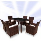 rattan dining table and 8 chairs set