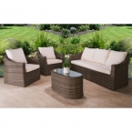 3 seater and chairs rattan set with coffee table