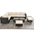 rattan corner sofa, stools and coffee table set