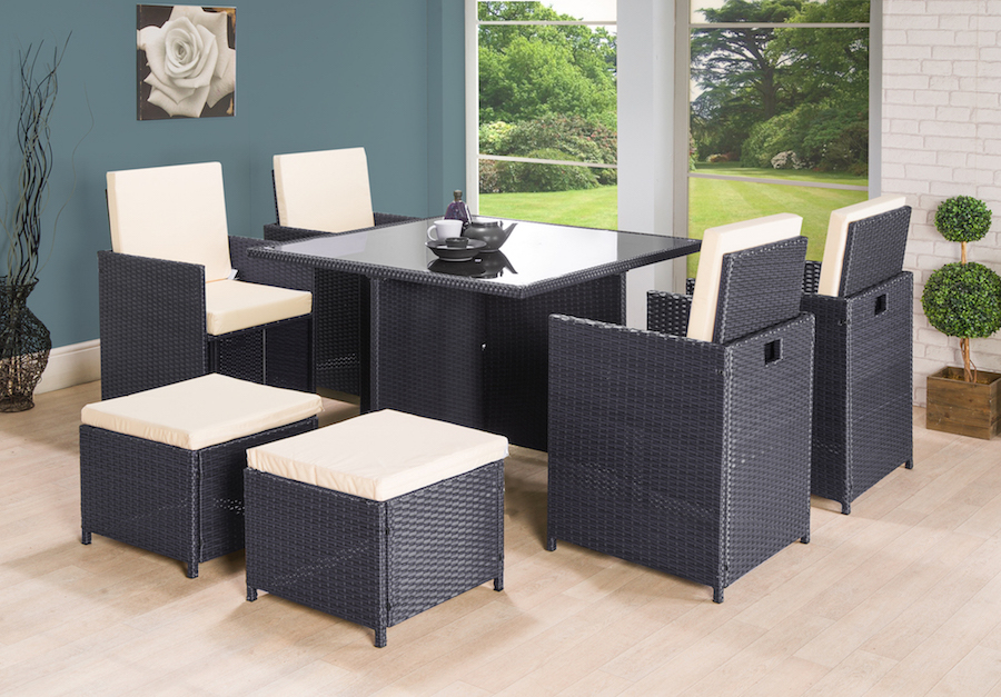 9pc Cube Rattan 8 Seater Garden Set Black