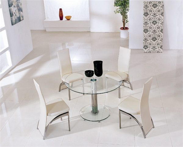 Mini Round Vo1 Ice Glass Dining Table Glass Dining Table And Chairs