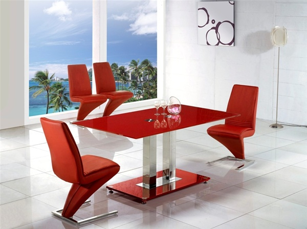 Jet Arctic Vo1 Red Glass Dining Table Glass Dining Table And Chairs
